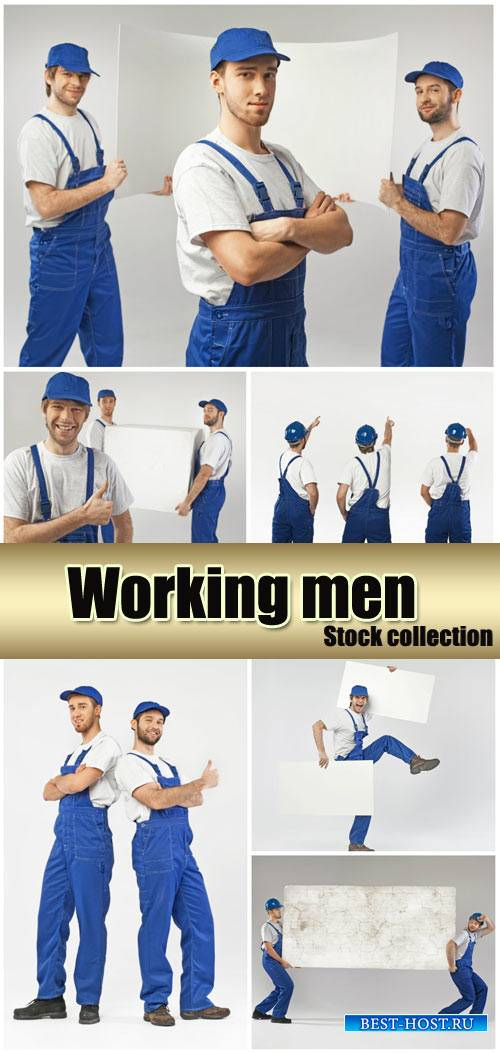 Workers, men with placards - stock photos