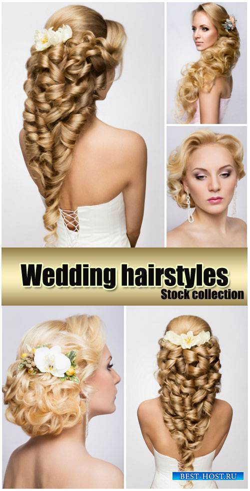 Wedding hairstyles with flowers, bride - stock photos