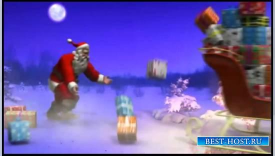 футажи Санта Клаус и олени бегут смешной
