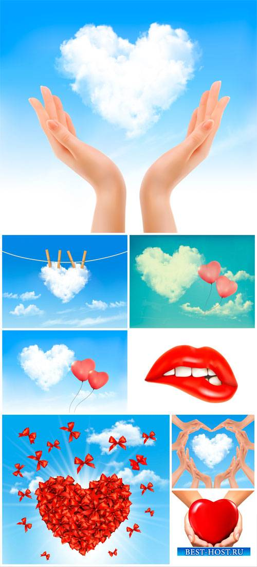 Clouds and hearts vector, valentines day