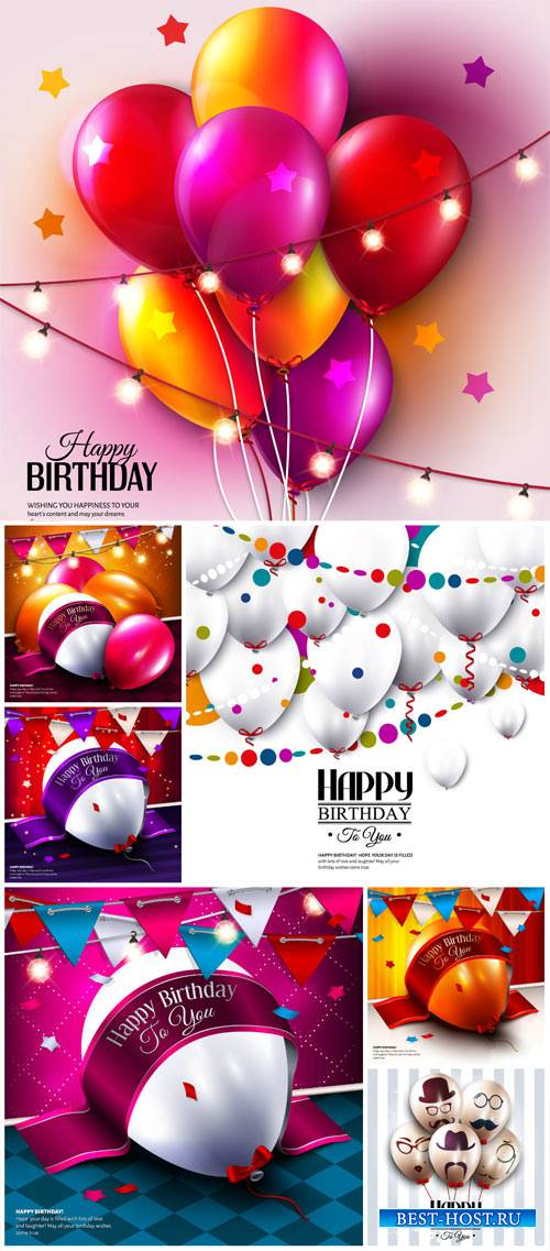 Balloons, birthday vector, festive backgrounds