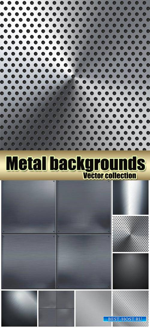 Metal vector backgrounds, textures