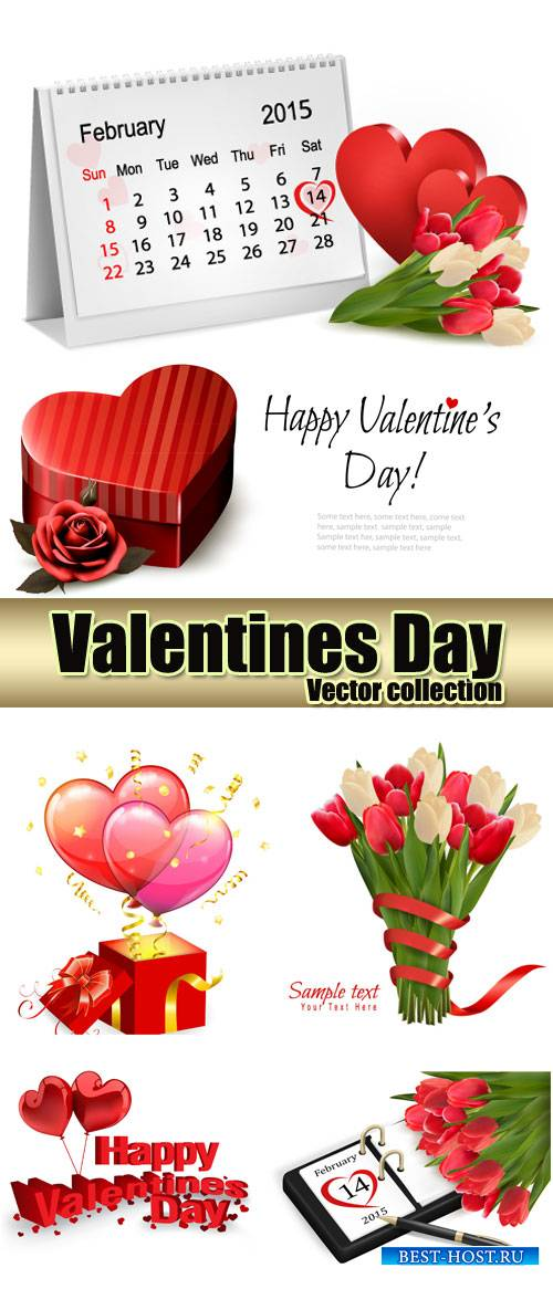 Valentine's Day hearts, February 14, flowers vector