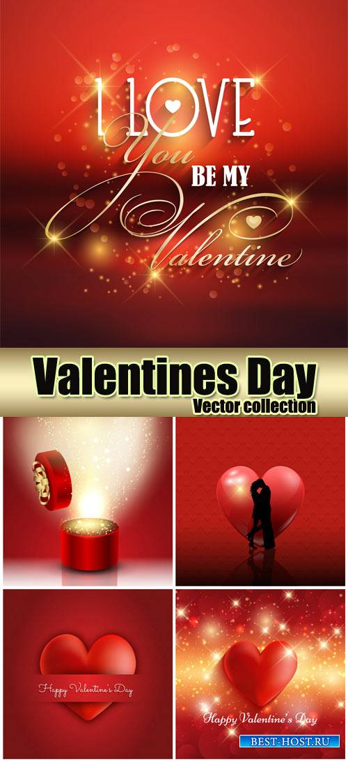 Red background with hearts, valentines day vector