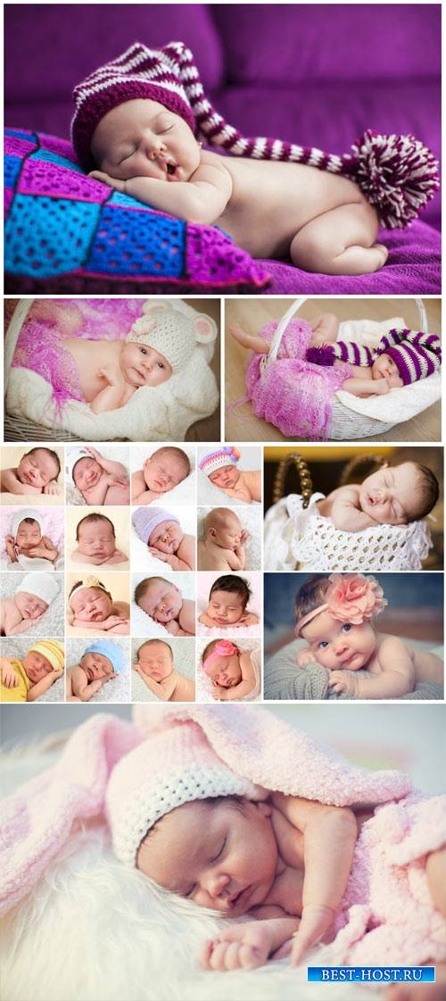 Little kids, sleeping baby - stock photos