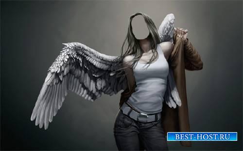 Девушка ангел с крыльями - Женский шаблон