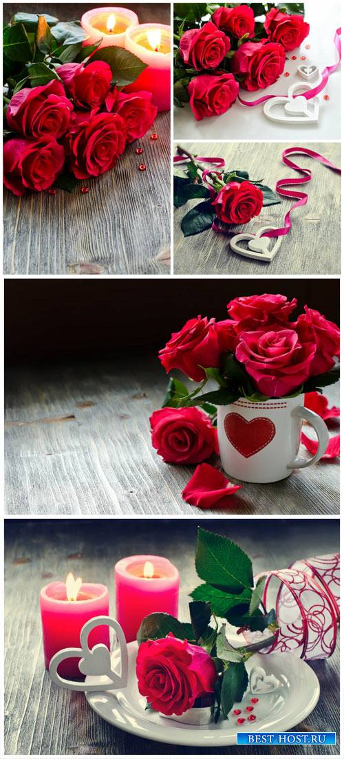 Romantic background with roses and candles - stock photos