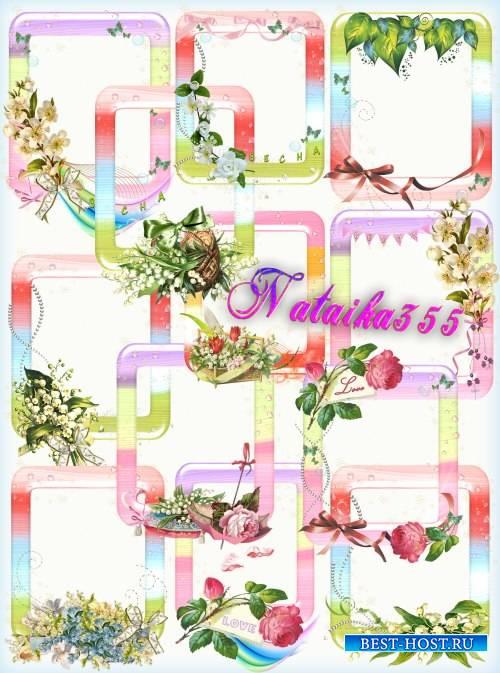 Рамки вырезы с весенними цветами - Запахом заполнит все вокруг
