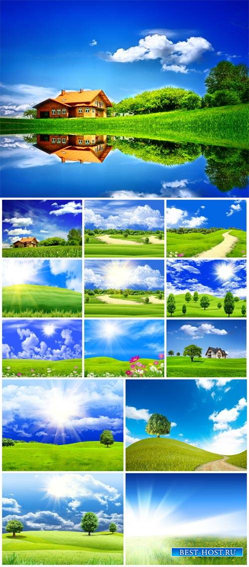 Natural landscapes, fields and river - stock photos