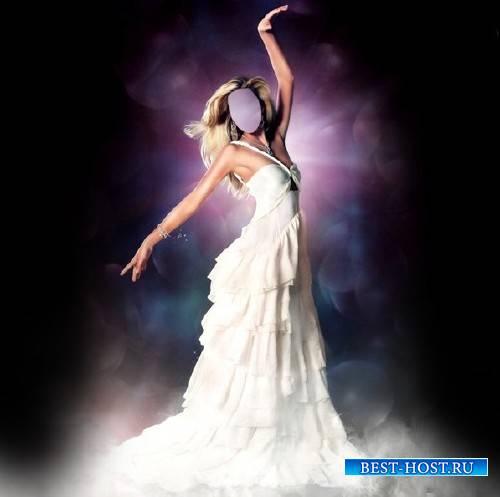 Шаблон для девушек - Стройная девушка в шикарном платье белом