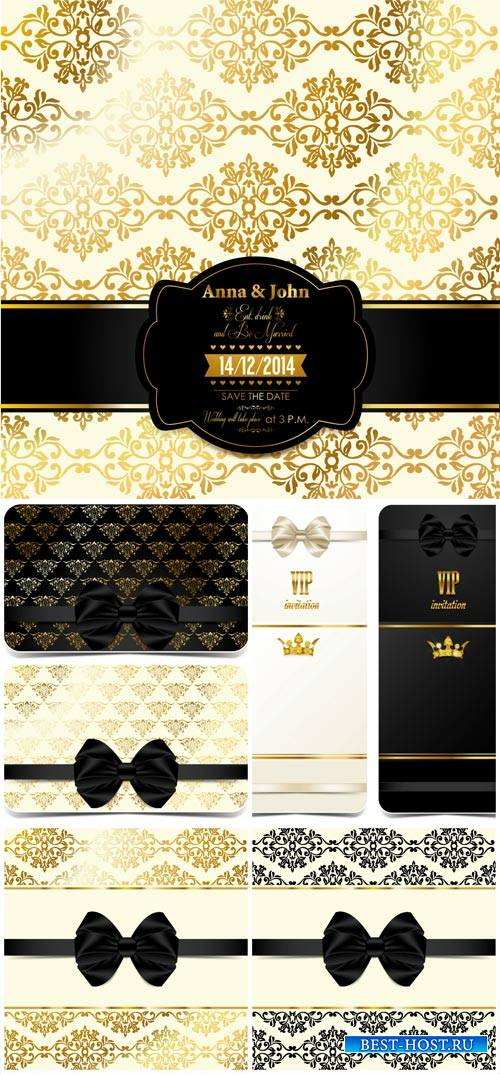 Vector VIP card with black ribbons, background with gold pattern