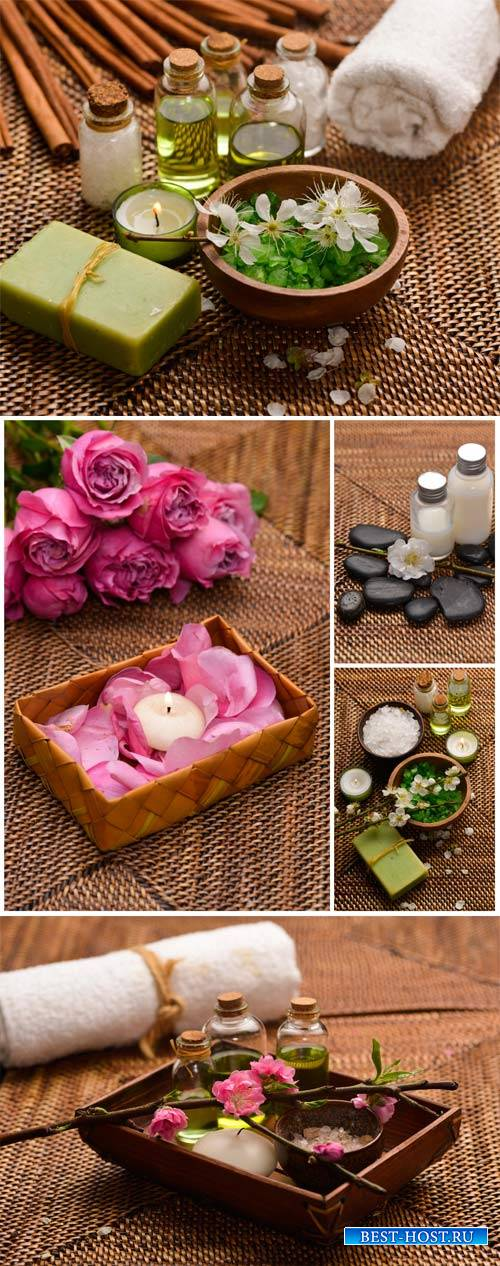 Spa background, aroma oils, spa stones and candles - stock photos