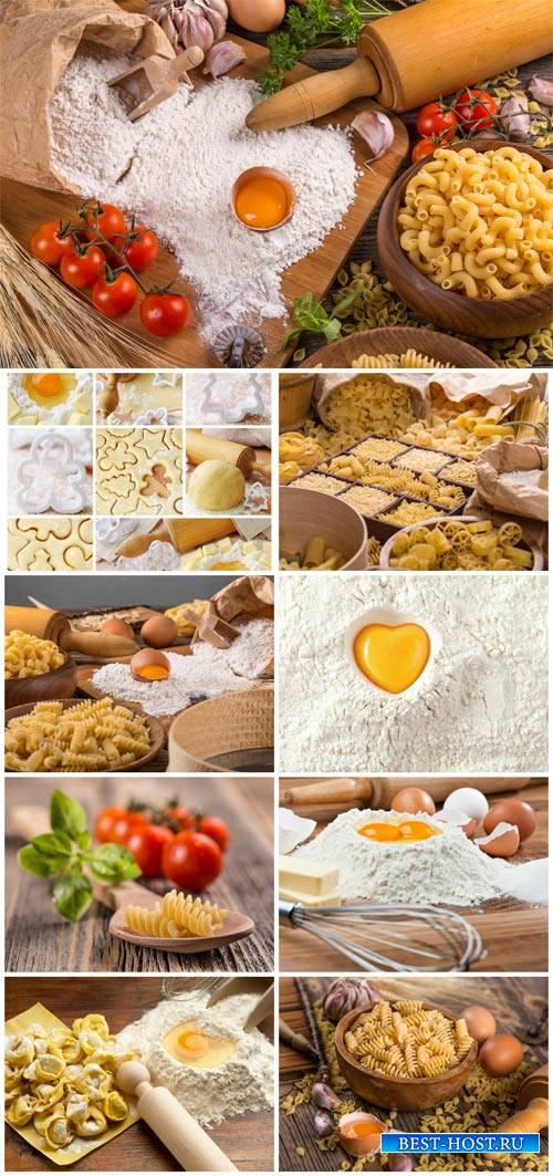 Pasta, eggs, flour, types flour products - stock photos
