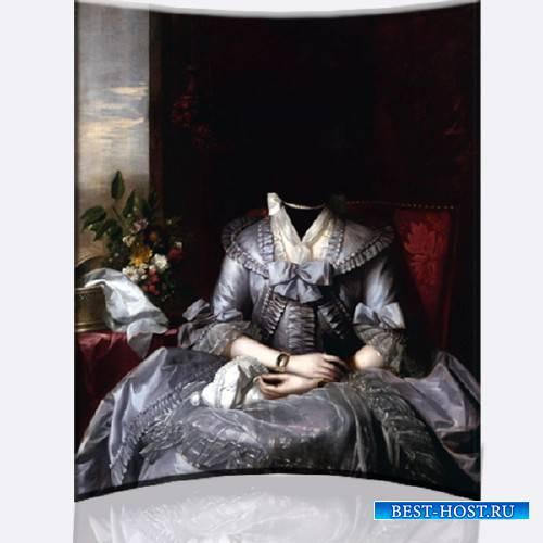 Шаблон для фотомонтажа - Старинный женский костюм барышни