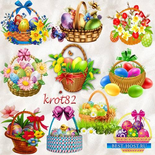 Клипарт корзинки с пасхальными яйцами и весенними цветами на прозрачном фон ...