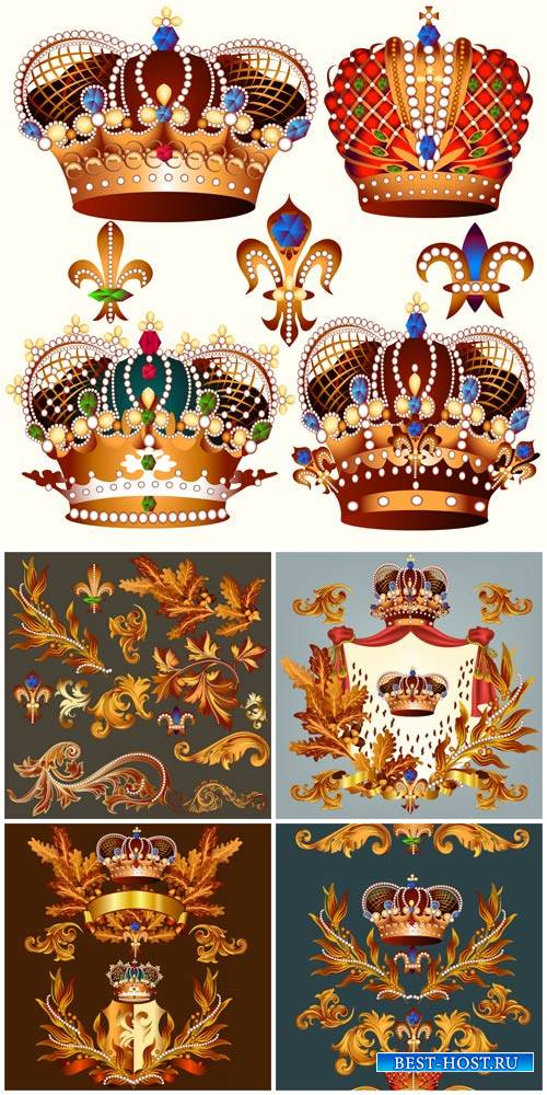Crown vector, heraldry, decorative elements