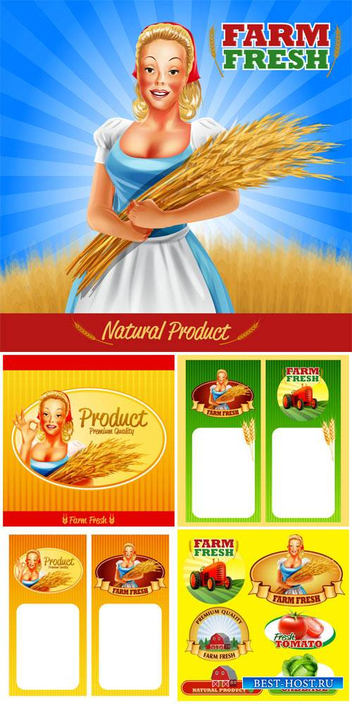 Farming, labels and backgrounds vector