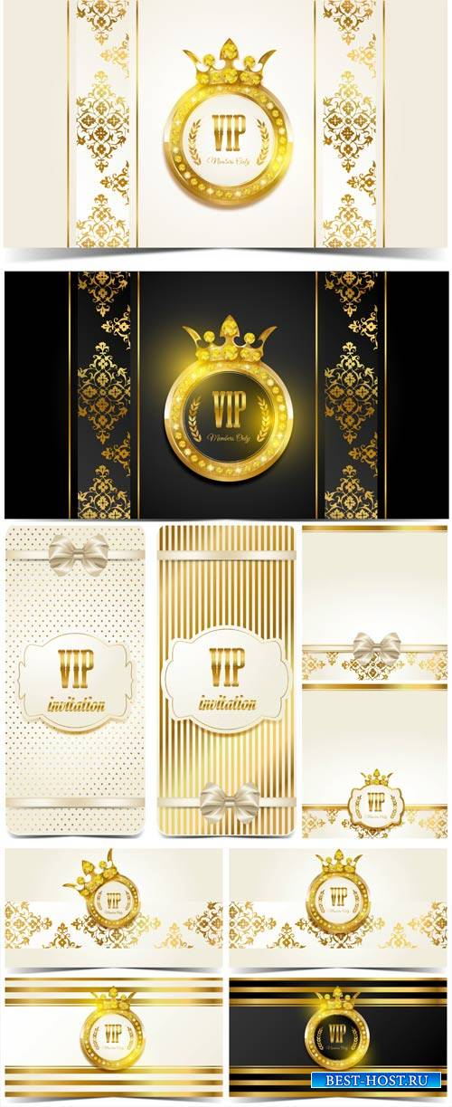 VIP card, vector background with a gold ornament