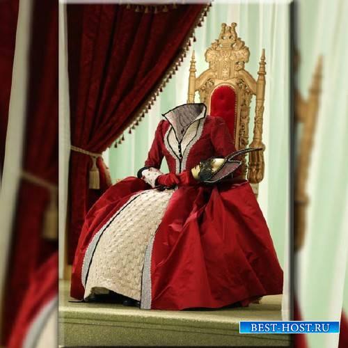 Шаблон psd - Королева в красном платье