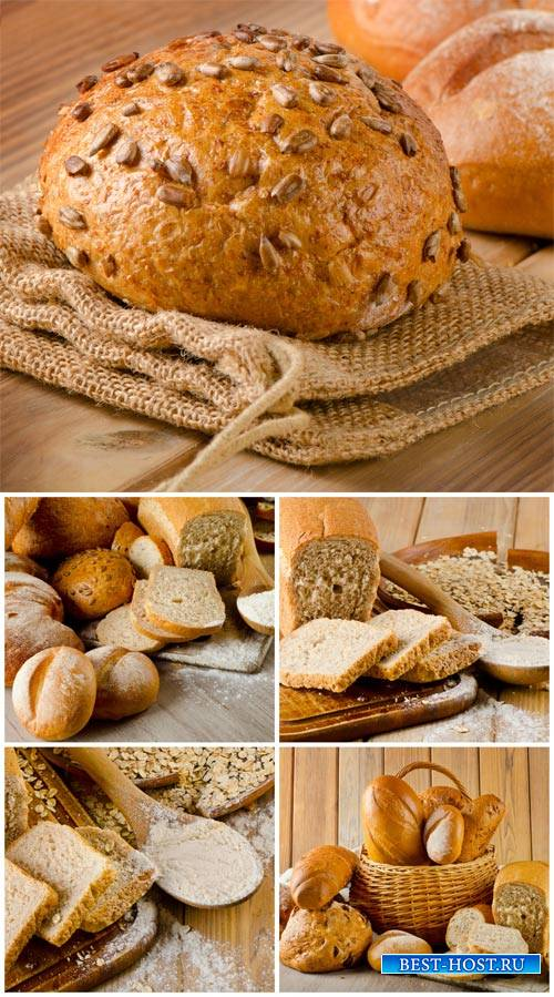 Fresh bread, basket with bakery products - stock photos