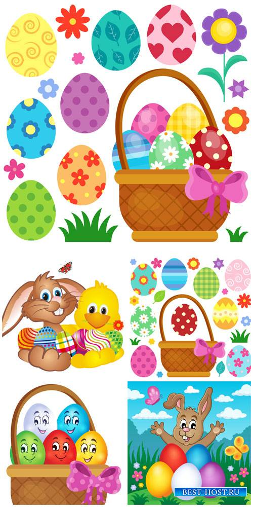 Easter vector, easter eggs and rabbit #2