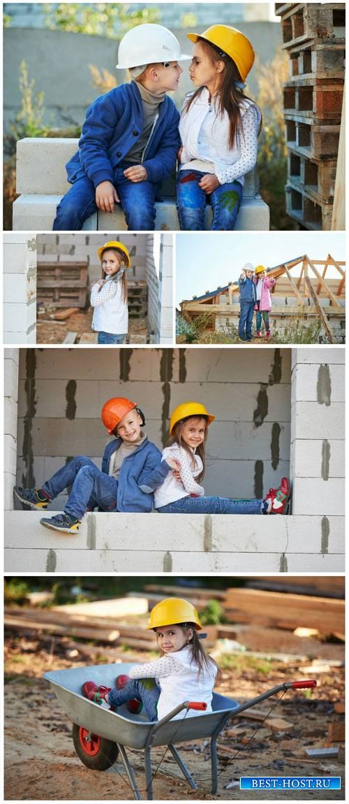 Little kids at a construction site - Stock Photo