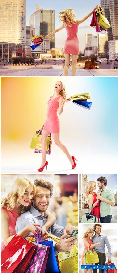Happy couple shopping - stock photos