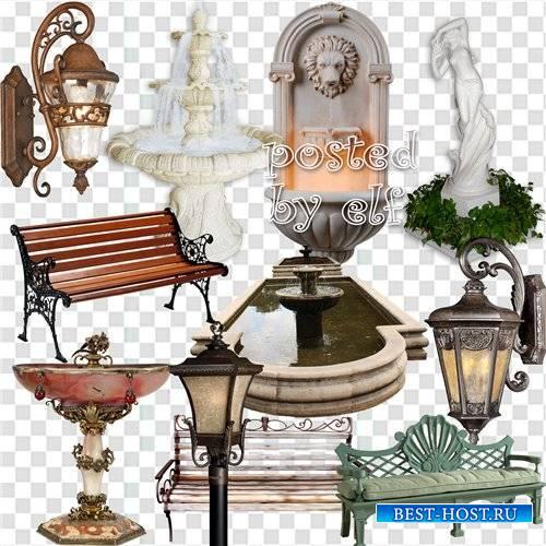 Фонтаны,скамейки и фонари на прозрачном фоне