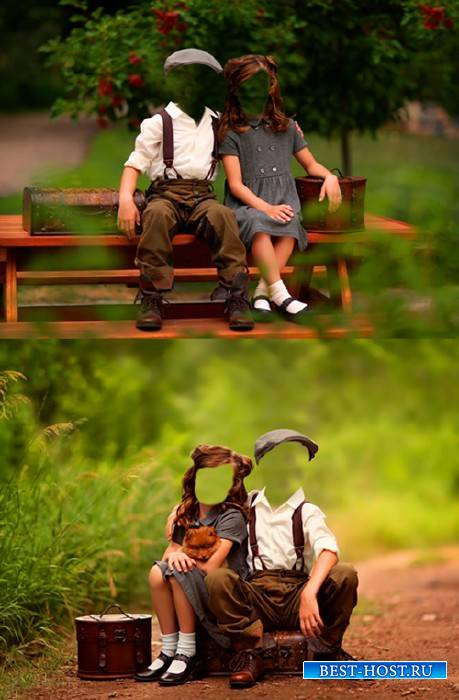 Шаблоны для фотошопа  - Мальчик и девочка