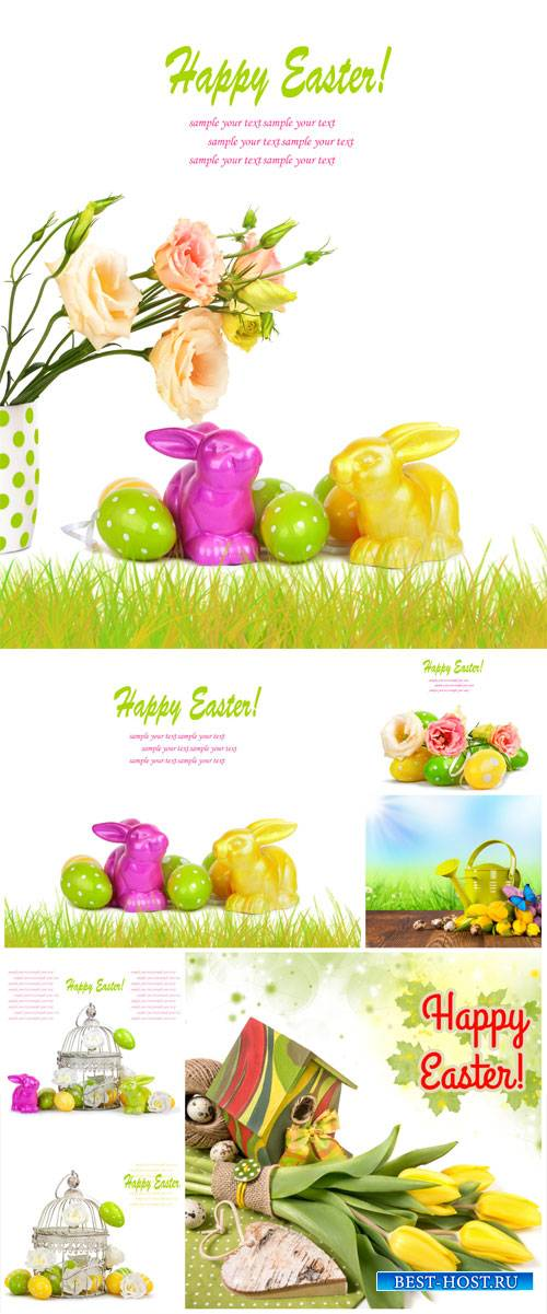 Easter stock photos, Easter eggs and rabbit