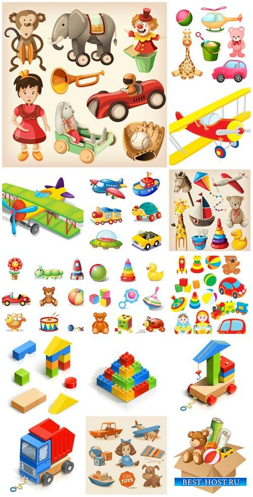 Children's toys vector, constructor, dolls, cars