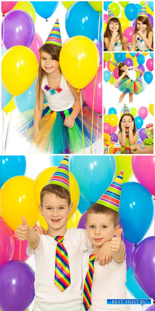 Children's birthday, children with balloons - stock photos