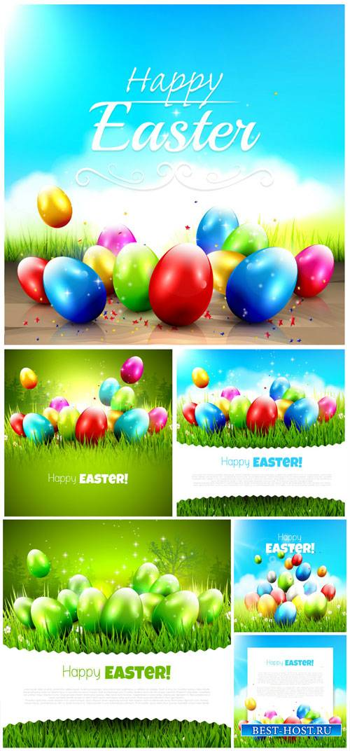 Easter eggs with colored vector