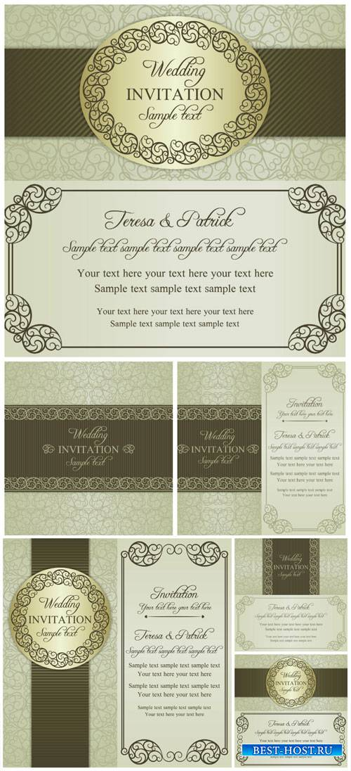 Wedding invitation vector, vintage backgrounds