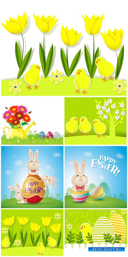 Easter vector, chickens, rabbit and flowers
