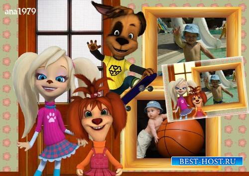 Рамка для фотошопа - Лиза, Роза и Дружок