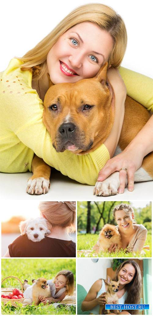 Women with dogs - stock photos