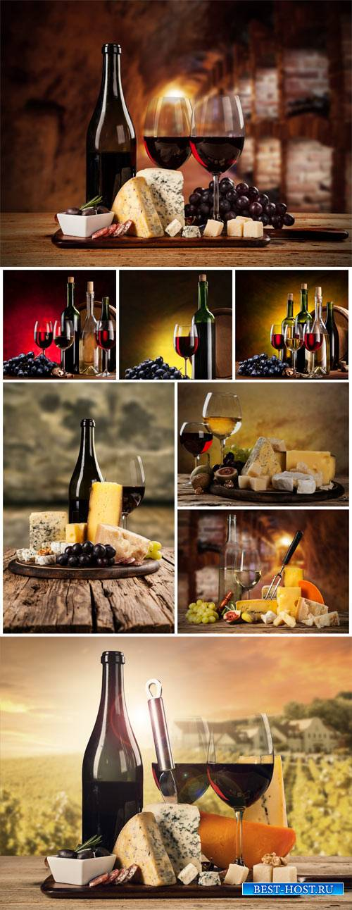 Wine, cheese, olives - Stock photo