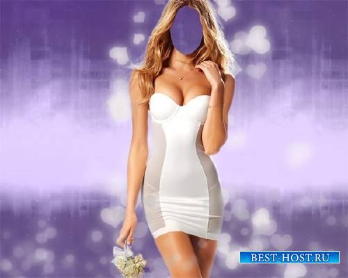 Photoshop шаблон - В платье с цветами