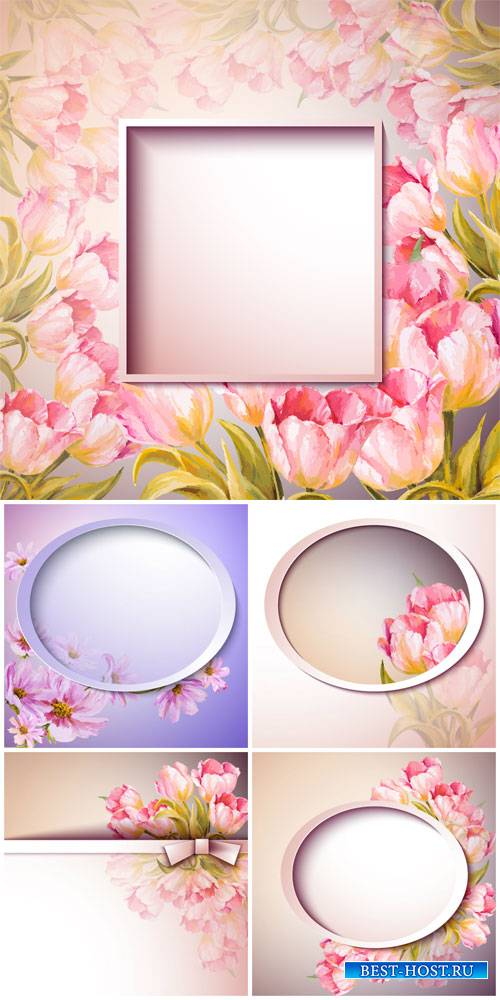 Gentle vector background with spring flowers, tulips