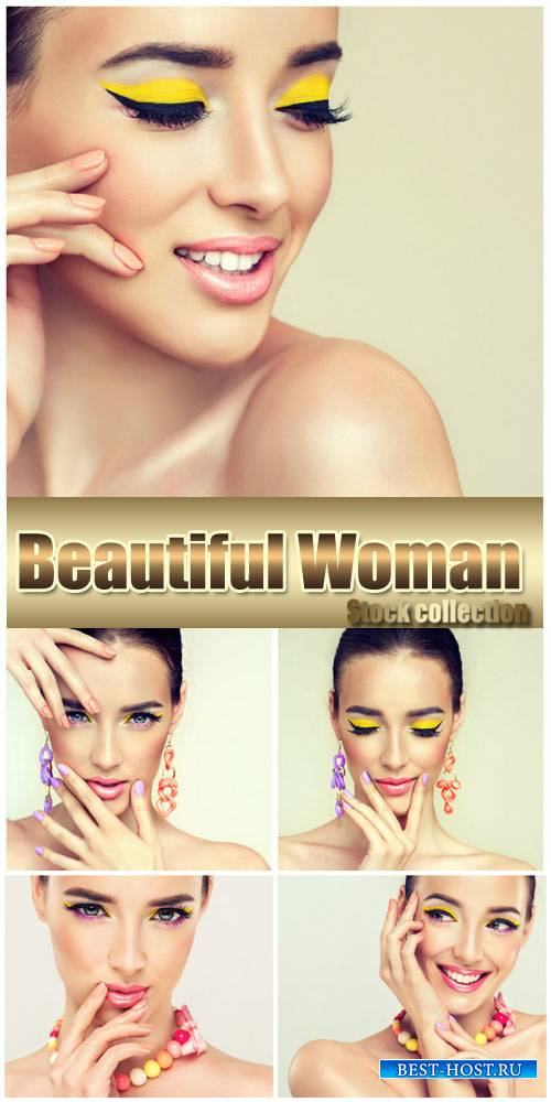 Woman with fashionable makeup - stock photos