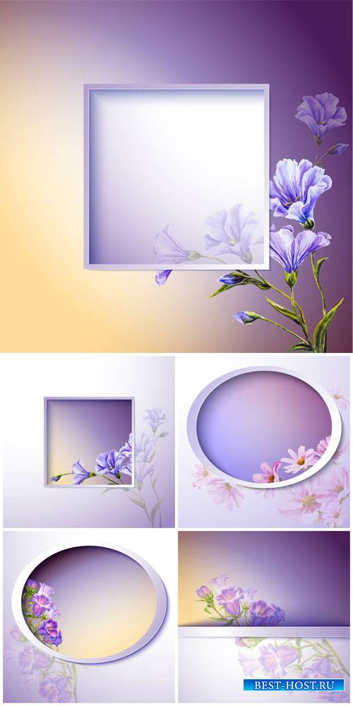 Purple vector background with flowers
