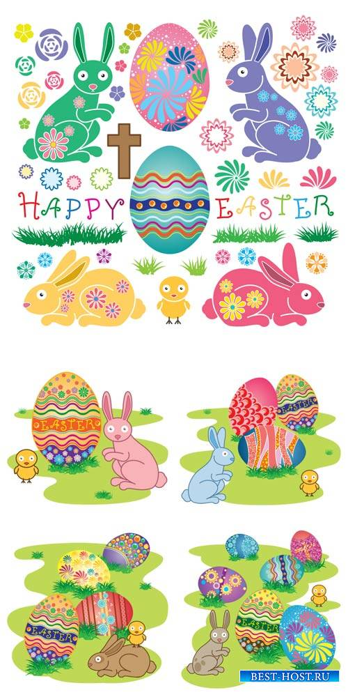 Happy Easter, Easter eggs and bunnies vector