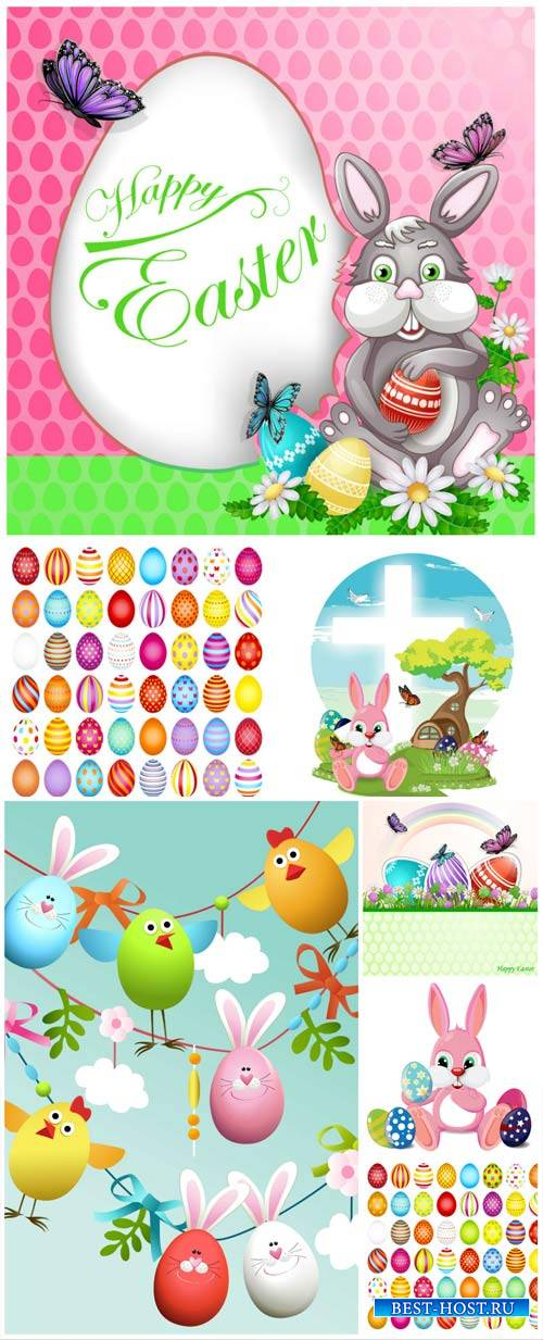 Happy Easter, Easter eggs, bunnies and flowers vector