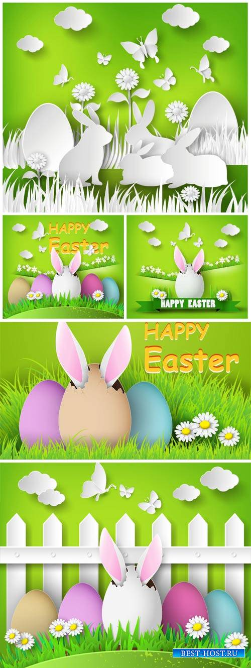 Happy Easter, Easter eggs and bunnies on a green background vector