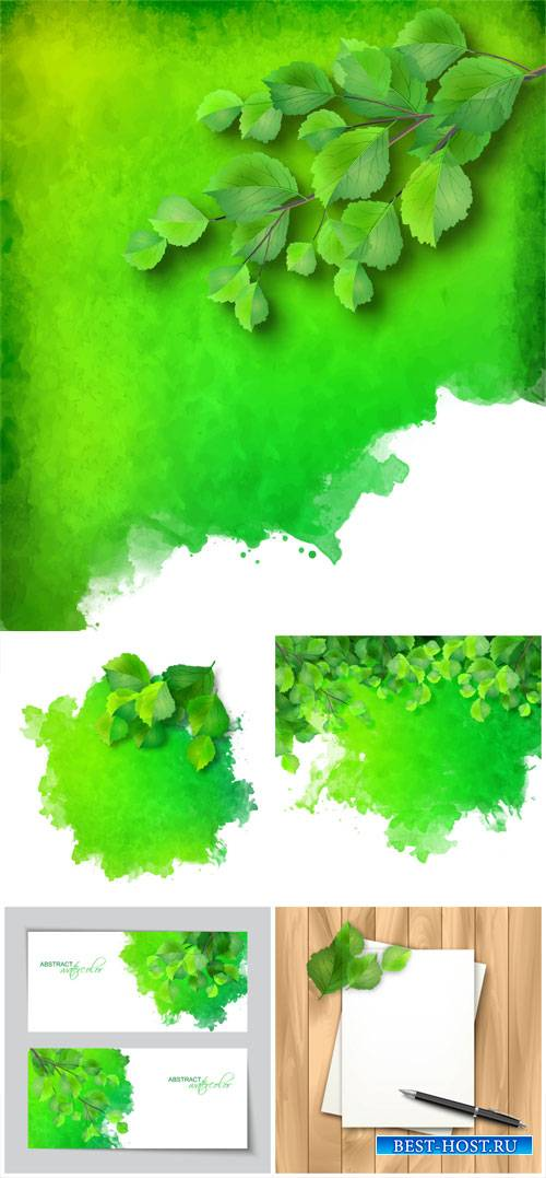Vector background with green leaves of birch