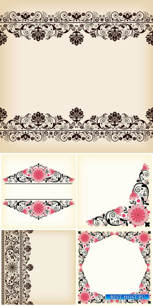 Floral patterns, vector corner ornaments