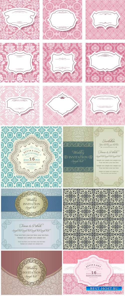 Invitation in vector vintage background with patterns