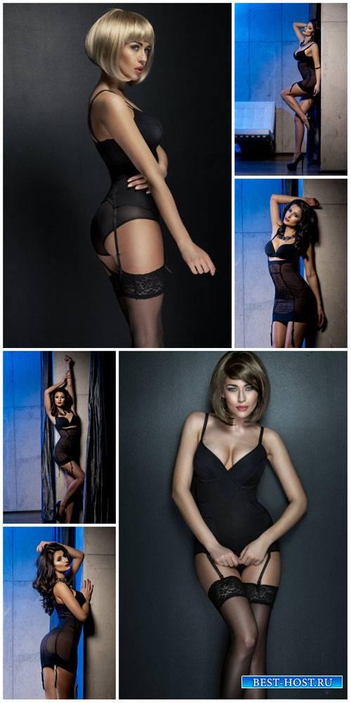 Enchanting girl in black underwear - stock photos