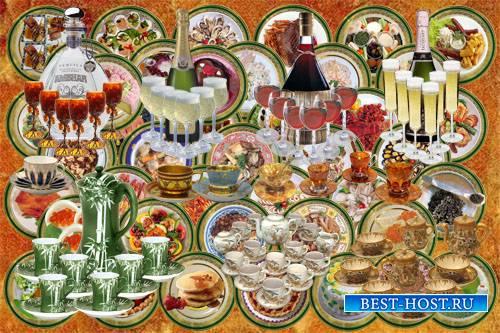 Клипарт детский Посуда, еда и напитки для бумажных кукол